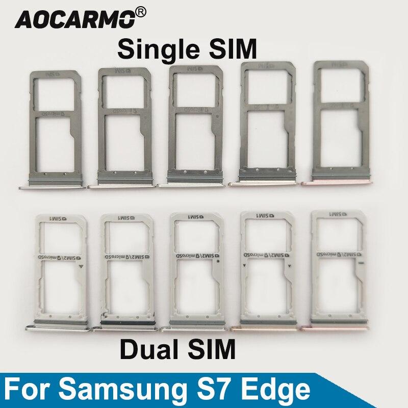 Aocarmo Single/Dual Metal Plastic Nano Sim Card Tray Slot Holder For Samsung Galaxy S7 Edge GM-G935