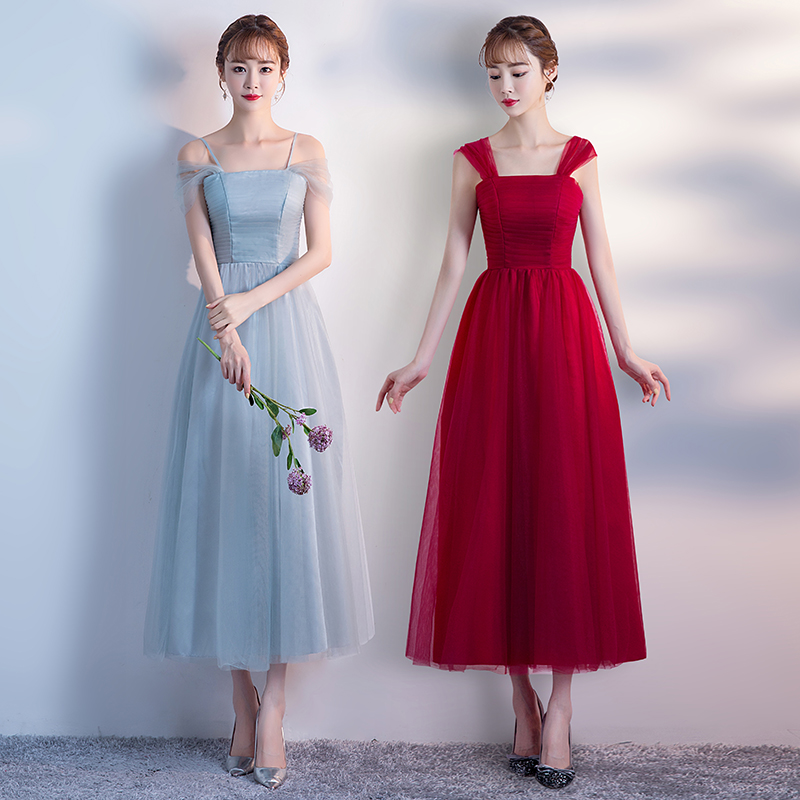 Burgundy Bridesmaid Dresses Junior Plus Size Tulle Dress Elegant Tea-Length  Boat Neck Long Simple Dress Sexy Prom Party Vestido