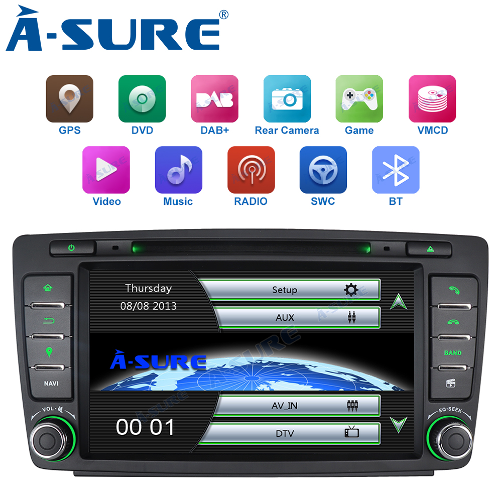 A-Sure Car Multimedia Player 2 Din Auto Radio Stereo DVD GPS Navigation For SKODA Octavia Fabia Yeti 2009-2013 Bluetooth RDS image