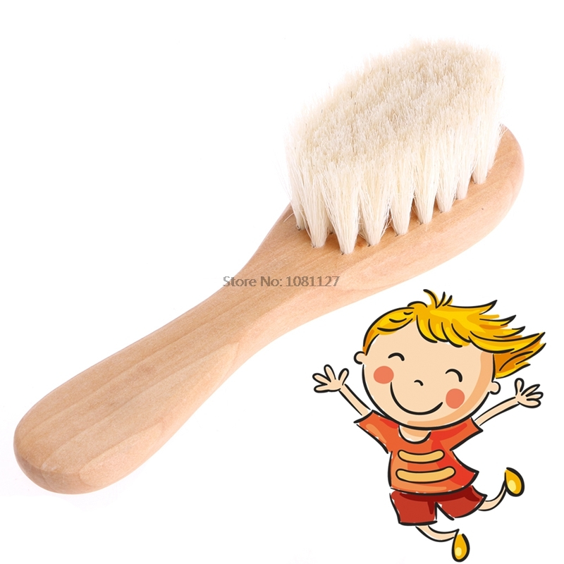 Wooden Handle Goat   Hair Brush Baby Hairbrush Newborn Hair Brush Infant Comb Head Massager For Baby