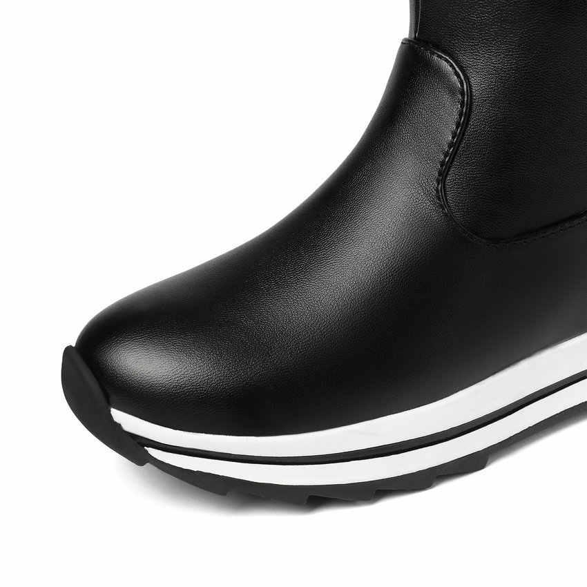 ESVEVA 2020 kelebek Kno kama topuk yarım çizmeler kış sıcak kürk kar botları yuvarlak ayak PU deri rahat bayan ayakkabıları boyutu 34-43