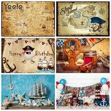 Yeele خلفية سفينة قرصان لحديثي الولادة ، ديكور استوديو الصور ، خريطة الكنز ، لأعياد الميلاد ، للأطفال