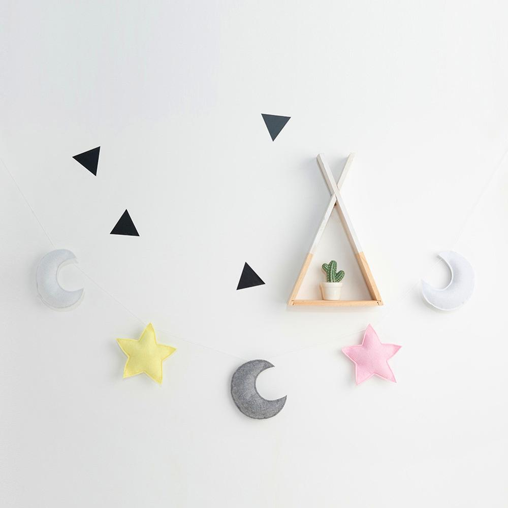 INS Nodic Star Moon Colored Newborn Baby Bedroom Decoration Baby Kids Tent Room Decor Accessory Wall Hanging Pacifying Toys