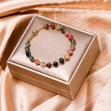 Multicolorido natural turmalina gem grânulos de pedra cristal pulseiras para meninas cor do ouro ímã pulseiras moda jóias ybr192