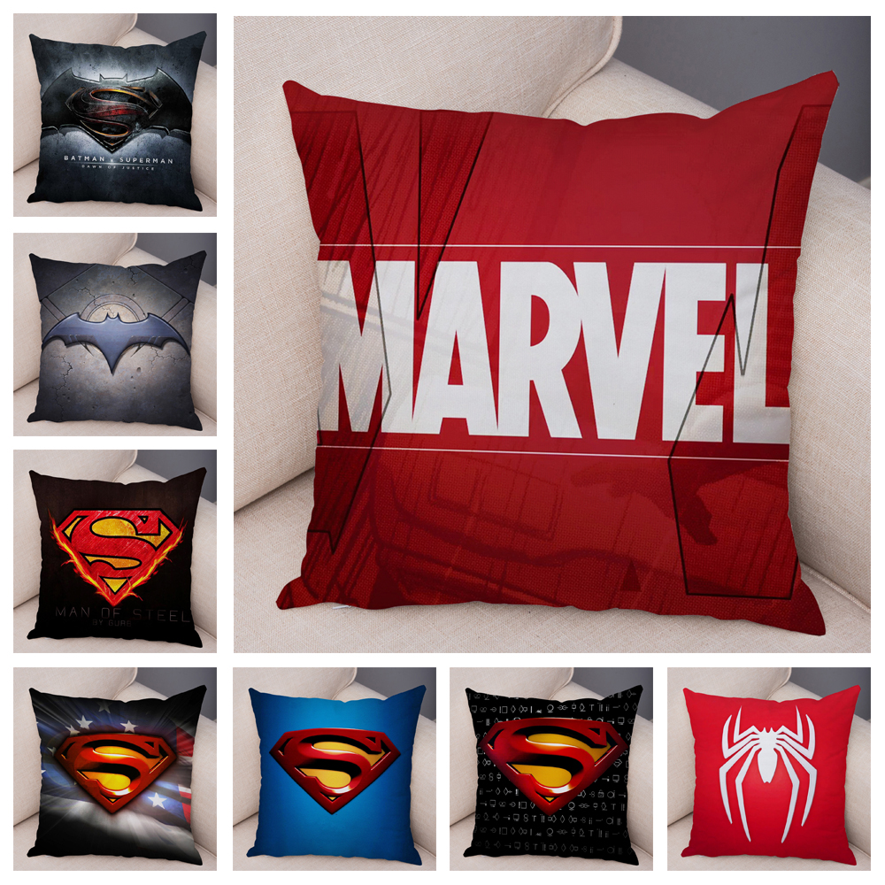 Cartoon Marvel Super Hero Logo Soft Short Plush Cushion Cover   Print Pillow Covers For Sofa Superman Decor Batman Pillowcase