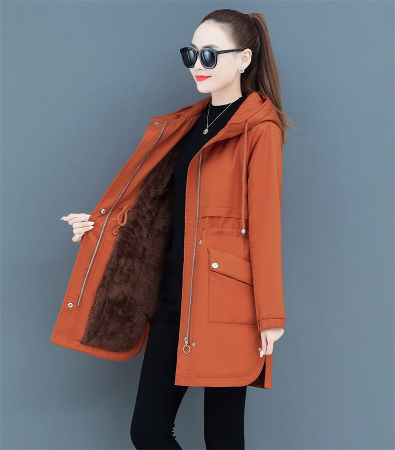 H63f4b2b6bc31467bbb85eb186748ec66b NEW2021 Women Parkas Fashion Coat Elegant Winter Mid Long Cotton Jacket Plus velvet thickening Hooded Collar Female Snow Outwear