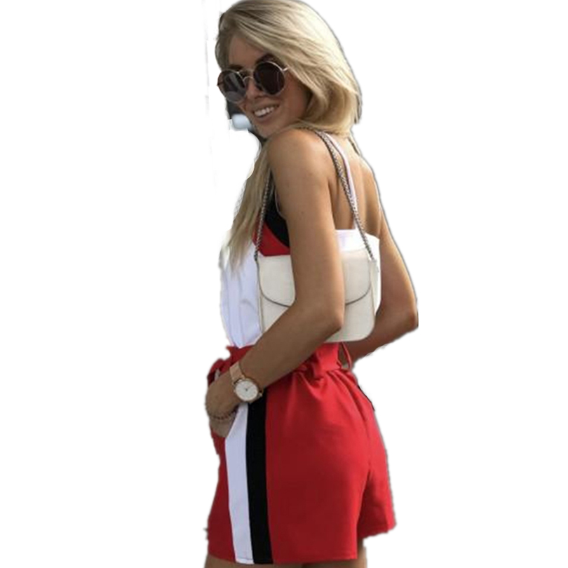 MVGIRLRU Summer Casual Two Piece Set V Neck Sling Top And Belted Elastic Waist Shorts Women Suits