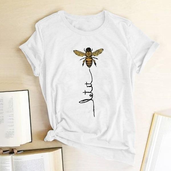 Hillbilly Women Bee Kind T-shirt Aesthetics Graphic Short Sleeve Cotton Polyester T Shirts 1