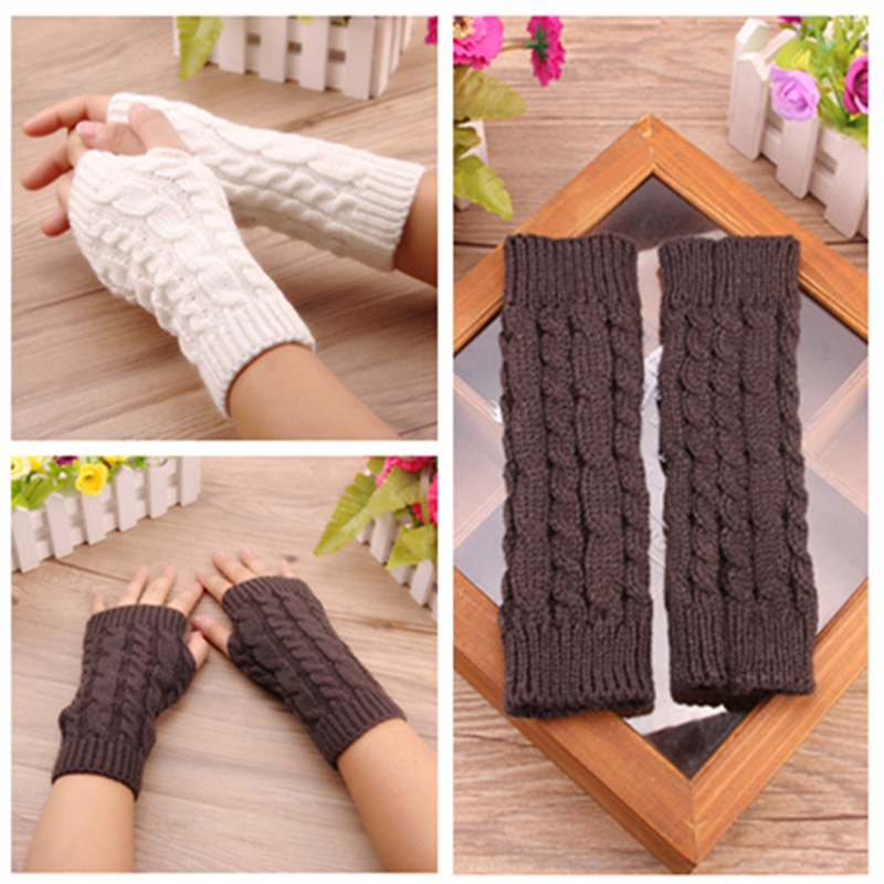 Women Wool Mitten Warm Fingerless Gloves Hand Warmer Sleeves Arms Winter Women Arm Crochet Knitting Faux Gloves Gants Femme