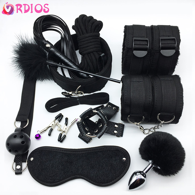11Pcs/set BDSM Sex Bondage Set Handcuffs Gag Mask Whip Erotic Toys Adult Sex Toys For Women Couples Sex Shop Anal Butt Plug Tail