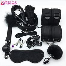 VRDIOS BDSM Sex Bondage Set Handcuffs Gag Mask Whip Erotic Toys Adult Sex Toys f