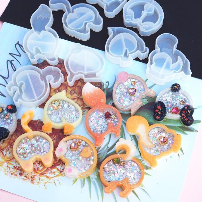 1pc Animal Fox Rabbit Shaker Silicone Molds Jewelry Mold Star Bear Key Chain Charm Jewelry Craft Tool