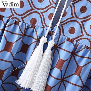 Image 3 - Vadim women fashion boho maxi dress V neck tassel tie long sleeve straight style casual ankle length dresses vestidos QD122