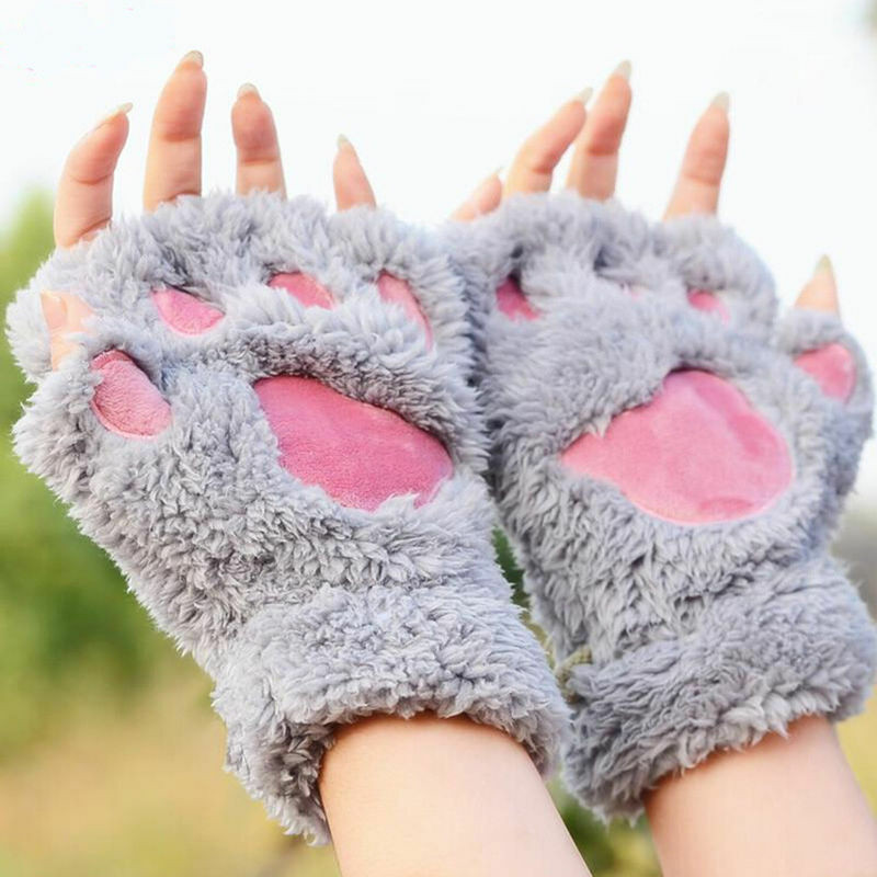 2019 Brand New Winter Women Cute Cat Claw Paw Plush Mittens Short Fingerless Gloves Half Finger Animal Pretend Warm Gloves