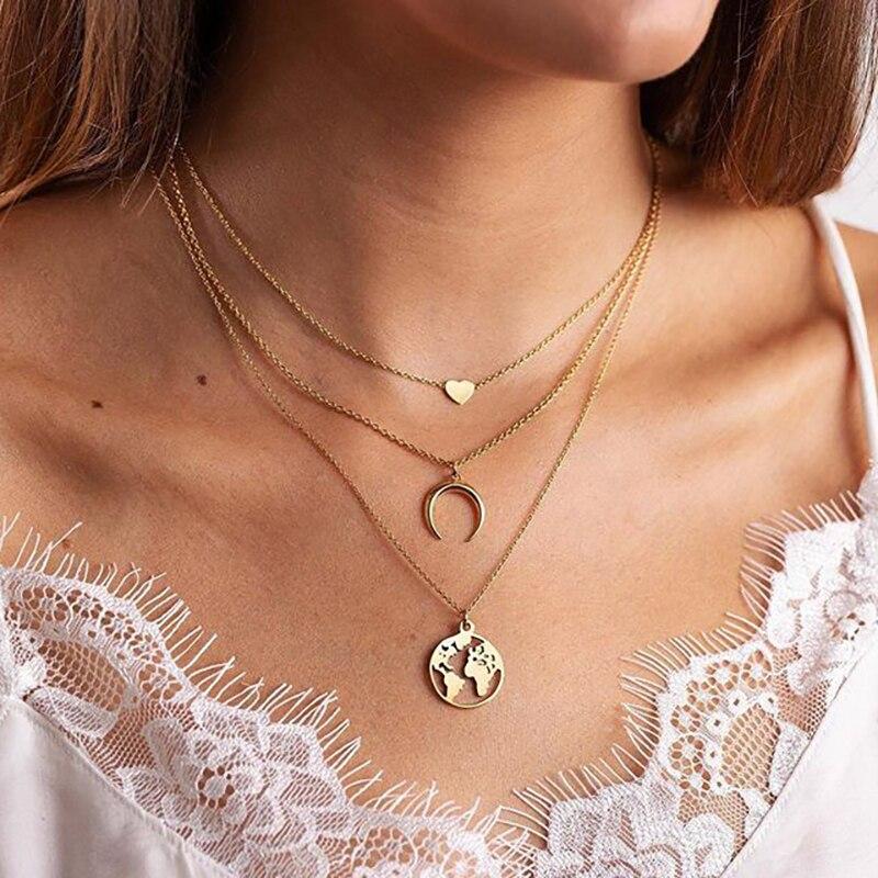 FNIO Bohemian Multi-Element Pendant Necklace 2019 For Women Moon Heart Map Multi layer Necklace & Pendants Jewelry Wholesale