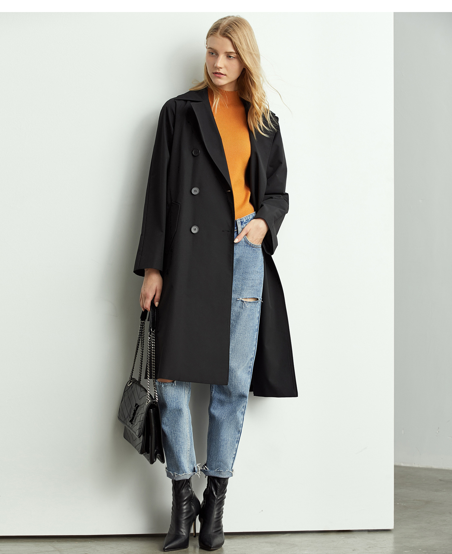 Amii Fashion Autumn Trench Coat Women Elegant Lapel Solid Loose With Belt Female Casual Mid Long Jacket 11960110