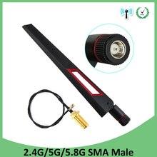 10 sztuk 2.4GHz 5GHz 5.8Ghz Antena prawdziwe 8dBi złącze męskie sma dwuzakresowe wifi Antena + 21cm RP SMA mężczyzna kabel pigtailowy