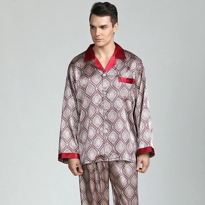 Men's Silky Satin Pajamas Sets Smooth Long Sleeve Pajamas Sleepwear Homewear New
