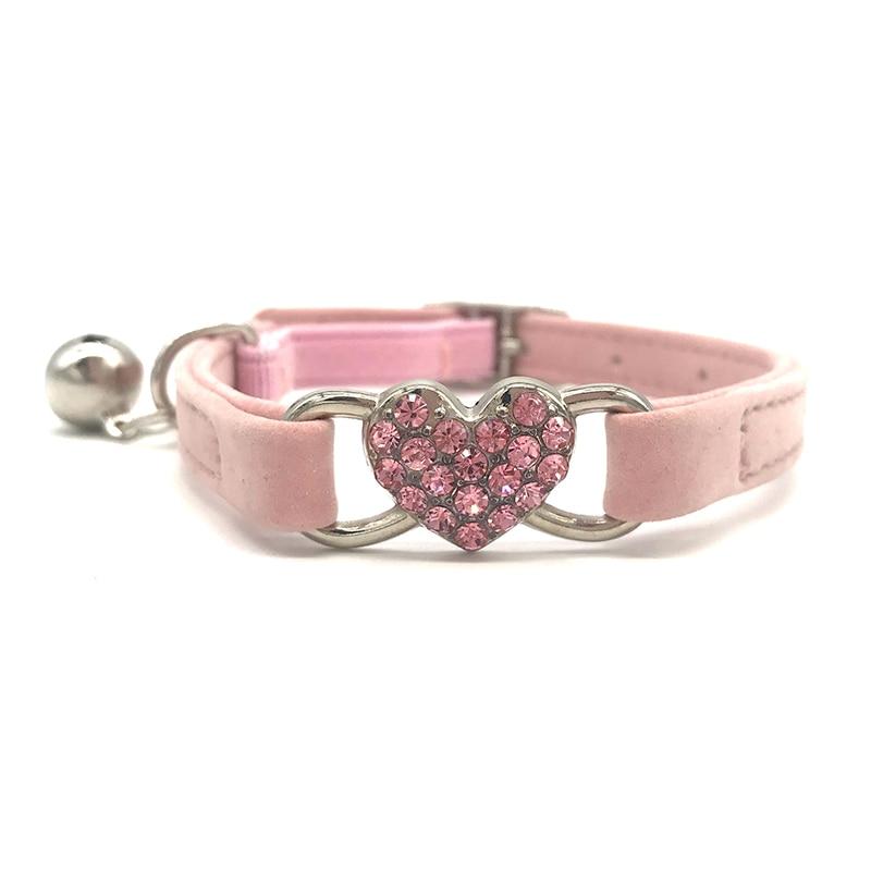PU Collar de gato con campana de cristal en forma de corazón de diamantes Collar para gatos Kitty Collar de seguridad gatito anillo de cuello de perro Correa Collar,