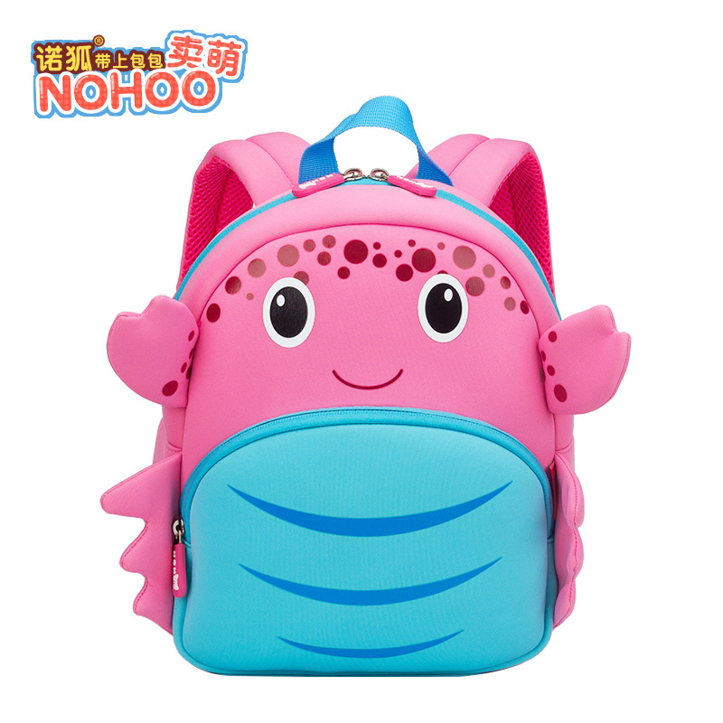 NOHOO Cute Small Bookbag 3-6-Year-Old Children Kindergarten Preschool Backpack Ultra-Light Pink Crab Backpack New