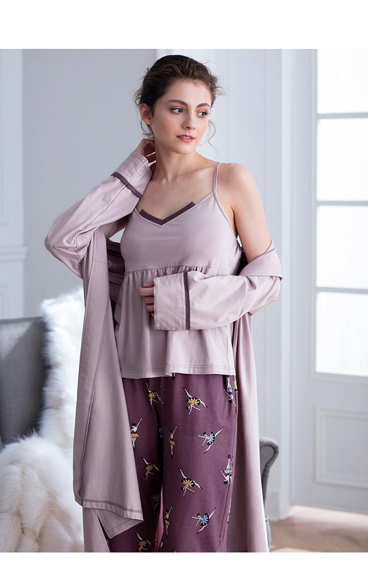 Cotton Pajamas Autumn Winter Women's Warm Casual 3 Piece Set Solid Color Sling Printed Trousers Lapel Long Nightgown Women's 27