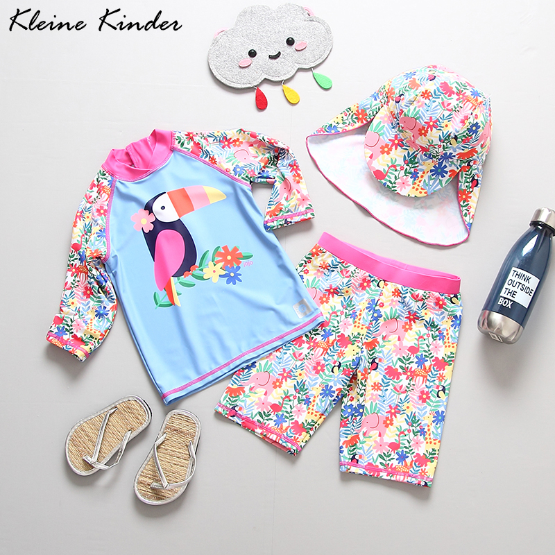 Girls Swimwear 3-piece Long Sleeves Girls' Swimsuit Floral Print UV 50 Lovely Toddler Girl Bath Clothes Children Swimming Suit