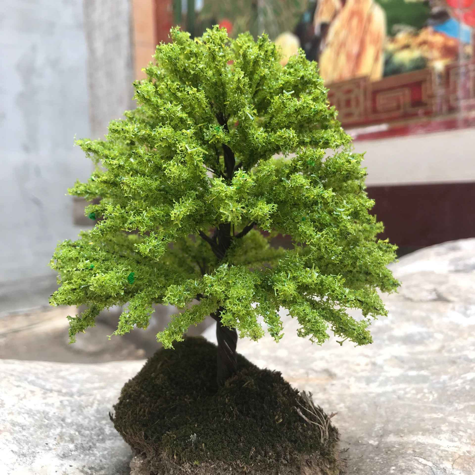 Green Model Elm Trees Bonsai Scenery Railway Wargames Miniature Landscape Decor