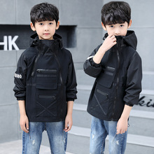 2019 Children Outerwear Hooded Jacket for Boy Trench Child Coat Letter Printed Boys' Hooded Windproof Kids Jacket Windbreaker недорого
