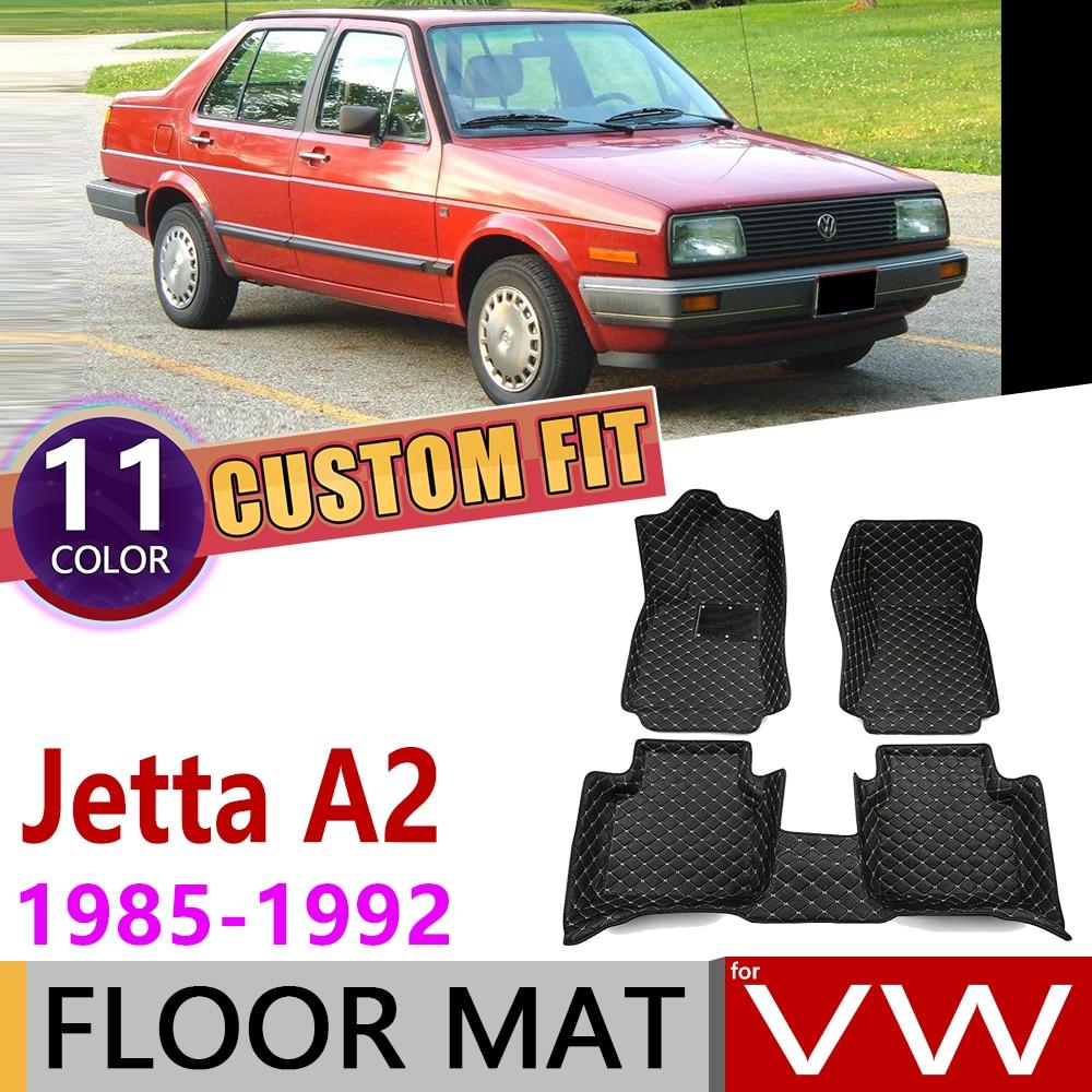 Custom Leather Car Floor Mat For Volkswagen VW Jetta A2 1985~1992 5 Seats Foot Pad Carpet Accessories 1986 1987 1989 1990 1991