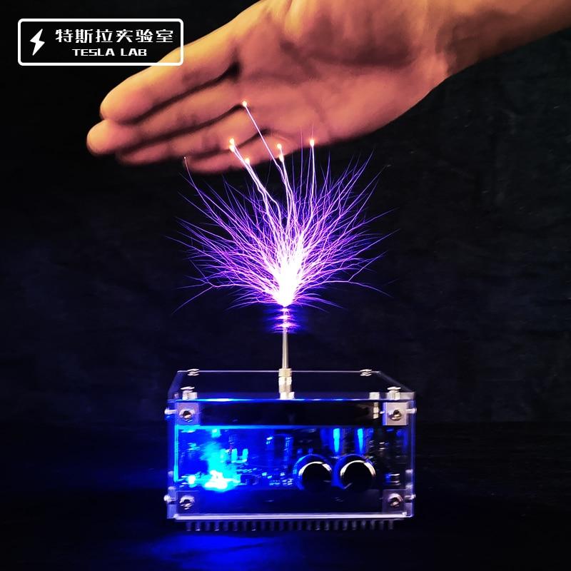 Dispositivo de prueba de pulso de alta frecuencia y alta tensión, bobina Tesla de música con Bluetooth, panel plano, 10CM, regalo de Navidad, más nuevo