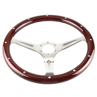 380mm 15 Inch Grant Classic Nostalgia Style Wood Grain Steering Wheel Slotted 3 Spoke Steering Wheel Riveted Light Wood Grip(6 H
