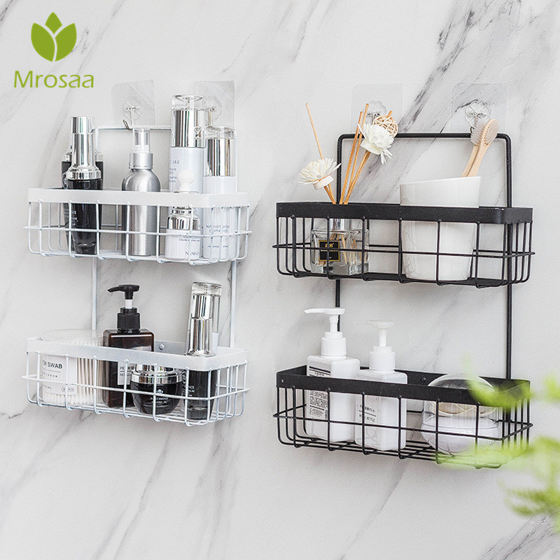 Bathroom Storage Shelf Iron Storage Rack Organizer Double Layer Wall Hanging Rack Shampoo Shower Shelf Kitchen Storage Baskets