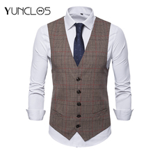 Euro Size Men's V-neck Plaid Casual Vest Waistcoat Single-Breasted For Wedding Party Suit Masculine Fashion