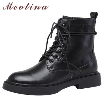 Meotina Motorcycle Boots Women Shoes Genuine Leather Flat Platform Ankle Boots Lace Up Short Boots Ladies Autumn Winter Black women martin boots black ankle short boots lace up flat boots woman