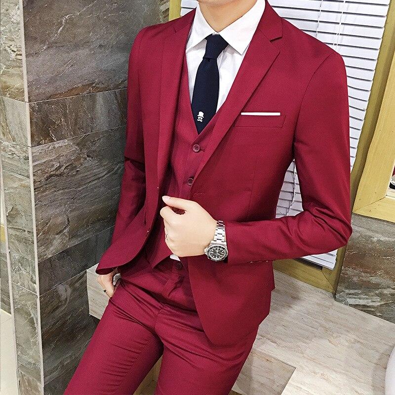 Large Size Set Four Seasons MEN'S Suit Three-piece Suit Slim Fit Korean-style Suit Marriage Formal Dress Best Man Suit
