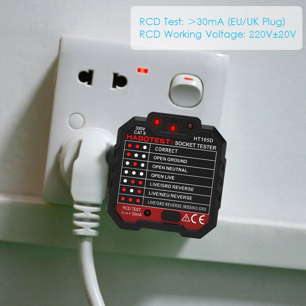 HABO тест HT105B Расширенный УЗО электрическая розетка тест er цепи линии детектор и настенный выключатель Finder Электрический тест утечки