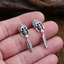S925 Sterling Silver Jewelry Personalized Thai Silver Skull Feather Pendant Earrings s990 sterling silver fashion jewelry personalized men s retro thai silver spike mosaic agate turquoise pendant