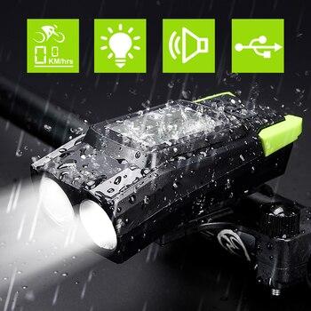 NEWBOLER Bike Light 4 Mode Bicycle Computer Horn 3 in 1 IPX5 Waterproof USB Cycling Headlight 800 Lumen MTB Front