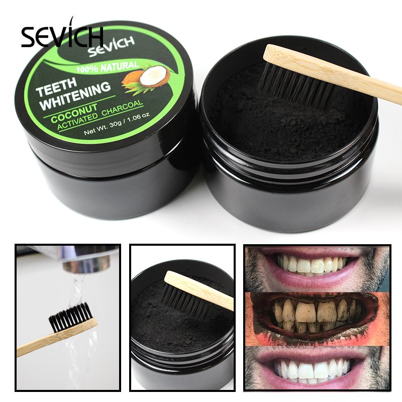 Sevich 30g Tooth Whitening Powder Smoke Coffee Tea Stain Remove Bamboo Activated Coconut Teeth Whitening Charcoal Powder
