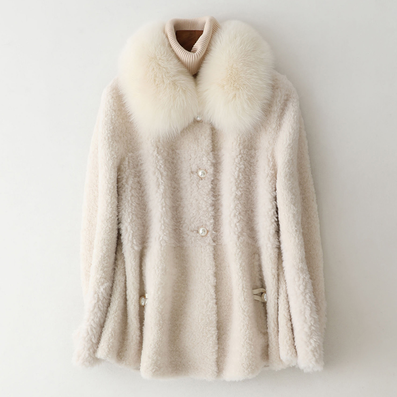 Coat Fur Real Female Sheep Shearling Jacket Winter Coat Women Fox Fur Collar Wool Coats Korean Jacket Manteau Femme MY s image