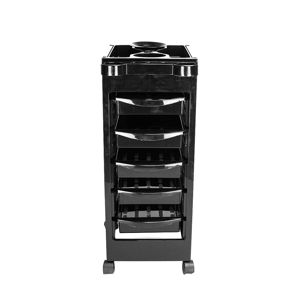 5 Tiers Removable Portable Plastic Hairdresser Beauty Storage Trolley Black TB Sale