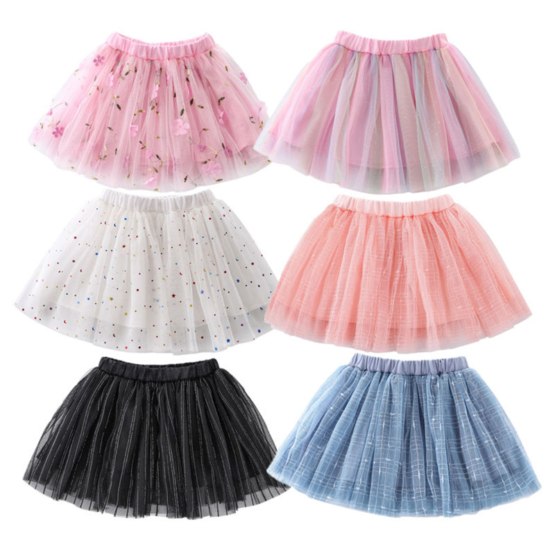 Модные детские сетчатые юбки для девочек, милая флуоресцентная юбка принцессы со звездами для танцев, плиссированная юбка-пачка с вышивкой,...