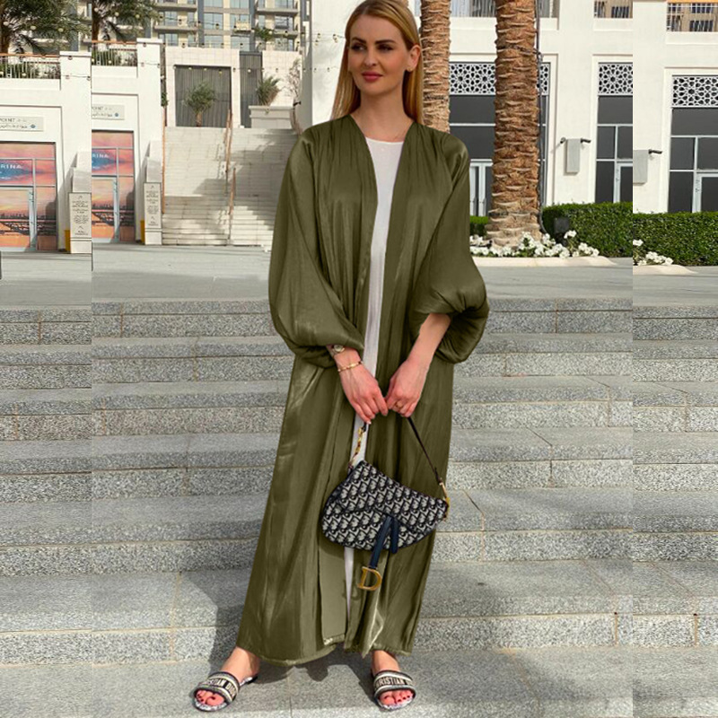 Robe Hijab Musulmane Eid Abaya dubaï, manches bulle, robes turques d'été, Abayas pour femmes, vêtements islamiques, Kimono Femme Musulmane 2