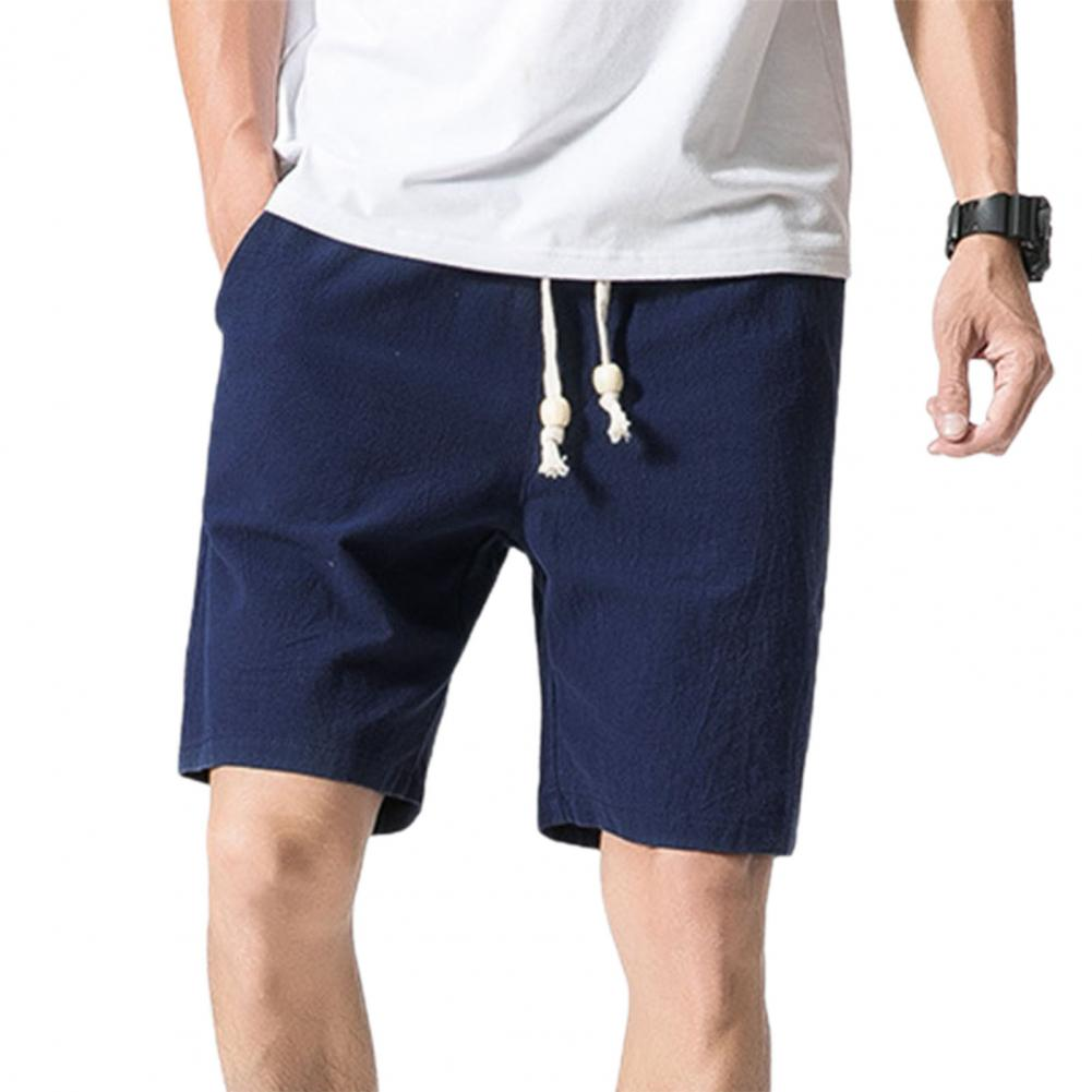 Men Beach Shorts Plus Size Casual Solid Color Drawstring Summer Loose Mid Rise Pockets Sweatpants Fitness Board Shorts 4