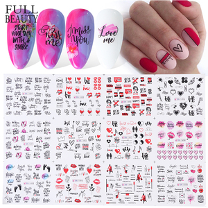 12 Design Nail Stickers Set Letter Heart Black Inscriptions Slider Nail Art Sexy Girl Water Decals Manicure Tattoo CHBN1489-1500