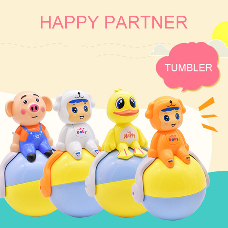 Hot Toys 4 Style Infant And Child Induction Sound Light Tumbler Plastic Duck Dog Pig Cartoon Toy Gift For Children