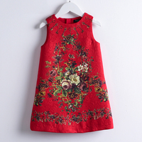 Girls Red Dresses 2019 New European And American Style Kids Sleeveless Flore Printed Party Dress Children Clothes Dress