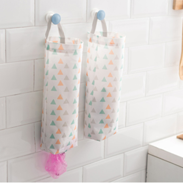 Home Grocery Bag Holder Wall Storage Dispenser Kitchen Organizer Oxford Cloth Hanging Garbage Storage Packing Pouch Hanging Bags