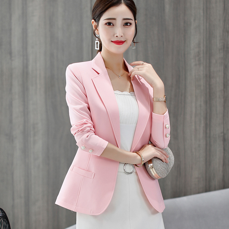 Spring Autumn Slim Long-sleeved Women Elegant Blazer Plus Size Temperament Small Suit Women's Jacket Casual Lady Blazers