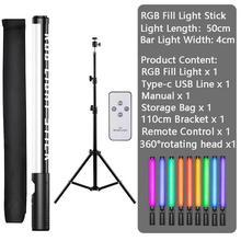 Bacchetta di illuminazione per fotografia RGB portatile bacchetta di luce USB ricaricabile con supporti per treppiede supporto per lampada di riempimento a LED 3200-5600K per feste